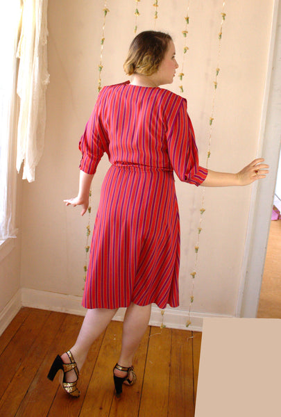 Vintage Striped Dress in Red, Purple, and Gold -  - Vintage Dress - Bliss Joy Bull - 2