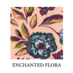 Load image into Gallery viewer, enchanted flora - blue peonies with maroon pistil, peach, green, yellow and maroon leaves on peach background - Oeko-tex 100 standard cotton