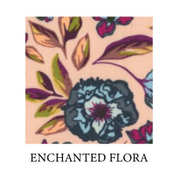 enchanted flora - blue peonies with maroon pistil, peach, green, yellow and maroon leaves on peach background - Oeko-Tex 100 cotton