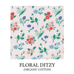 Load image into Gallery viewer, (floral ditzy) red, peach, blue or white flowers, on light pink background - organic cotton