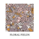 Load image into Gallery viewer, flora fields - small, daisy-like flowers in pink, mustard yellow and off-white on grey/purple background - Oeko-tex 100 standard cotton