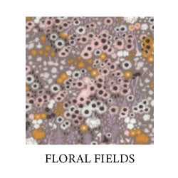 flora fields - small, daisy-like flowers in pink, mustard yellow and off-white on grey/purple background - Oeko-tex 100 standard cotton