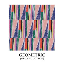 hand drawn geometric print with pink, navy blue, red, green, light yellow and black colors. - organic cotton