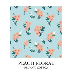 (peach floral) peach colored flowers on light blue background - organic cotton