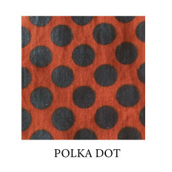 (polka dot) navy blue dots on burnt orange background - organic cotton