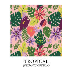 (tropical) - green monstera leaves, dark green and lime green tropical leaves, pink and purple tropical flowers on peach pink background - organic cotton