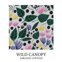 (wild canopy) large geometric green and black leaves and pink, yellow, and purple flowers on white background - organic cotton