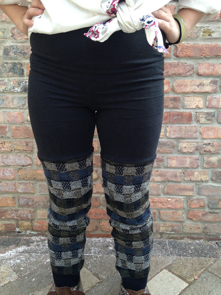Sweater Leggings - Faux Thigh High - Blue Geometric -  - Leggings + leg warmers - Bliss Joy Bull - 2