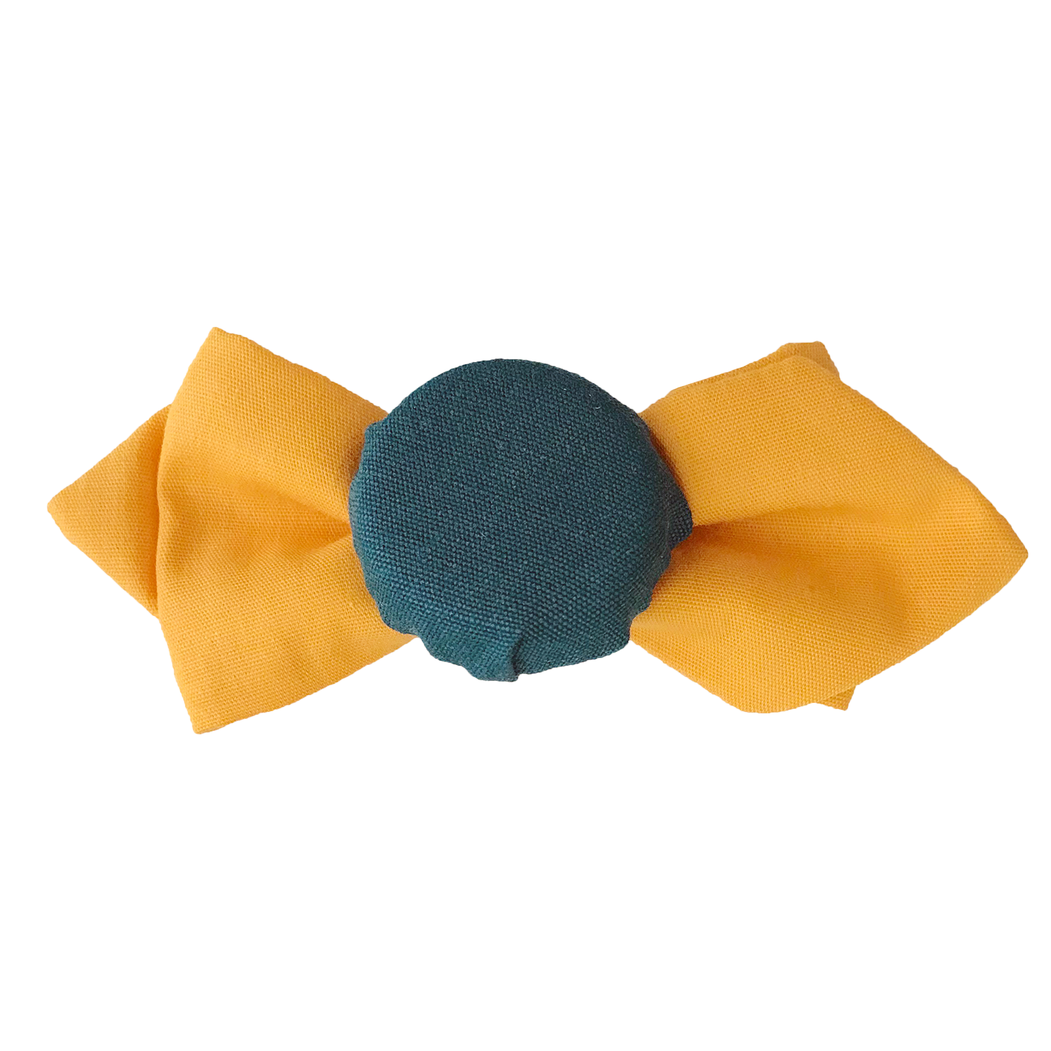 Hair pin in the shape of a mini orange bow tie with teal fabric covered bottle cap