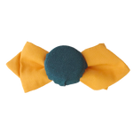 Load image into Gallery viewer, Hair pin in the shape of a mini orange bow tie with teal fabric covered bottle cap