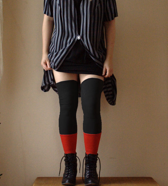 Thigh High Leg Warmers - Black + Red -  - Leggings + leg warmers - Bliss Joy Bull - 1