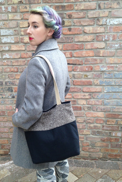 Waxed Canvas & Tweed Tote Bag: Black - Black + Tweed - Bag - Bliss Joy Bull - 1