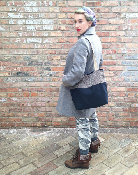 Sweater Leggings - Faux Thigh High - Grey and White Geometric -  - Leggings + leg warmers - Bliss Joy Bull - 1
