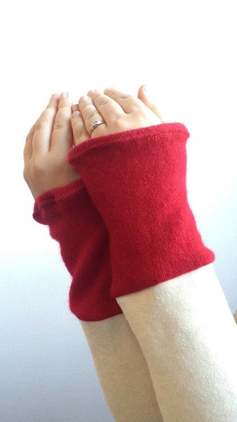 Organic Arm Warmer Texting Gloves in White + Cashmere -  - Arm Warmers - Bliss Joy Bull - 1