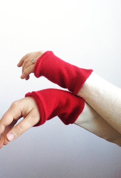 Organic Arm Warmer Texting Gloves in White + Cashmere -  - Arm Warmers - Bliss Joy Bull - 2