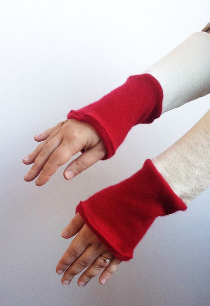 Organic Arm Warmer Texting Gloves in White + Cashmere -  - Arm Warmers - Bliss Joy Bull - 4