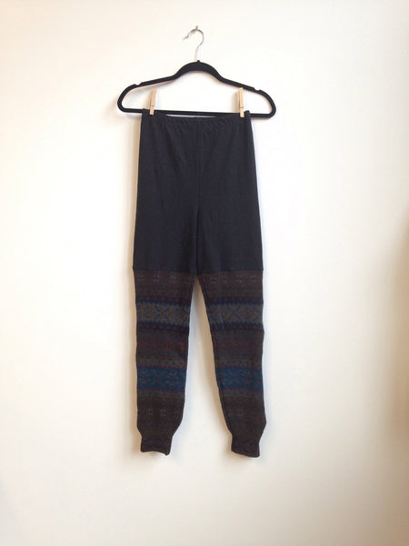Sweater Leggings - Faux Thigh High - Wool Geometric -  - Leggings + leg warmers - Bliss Joy Bull - 4