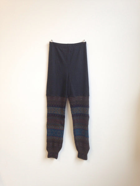 Sweater Leggings - Faux Thigh High - Wool Geometric -  - Leggings + leg warmers - Bliss Joy Bull - 1