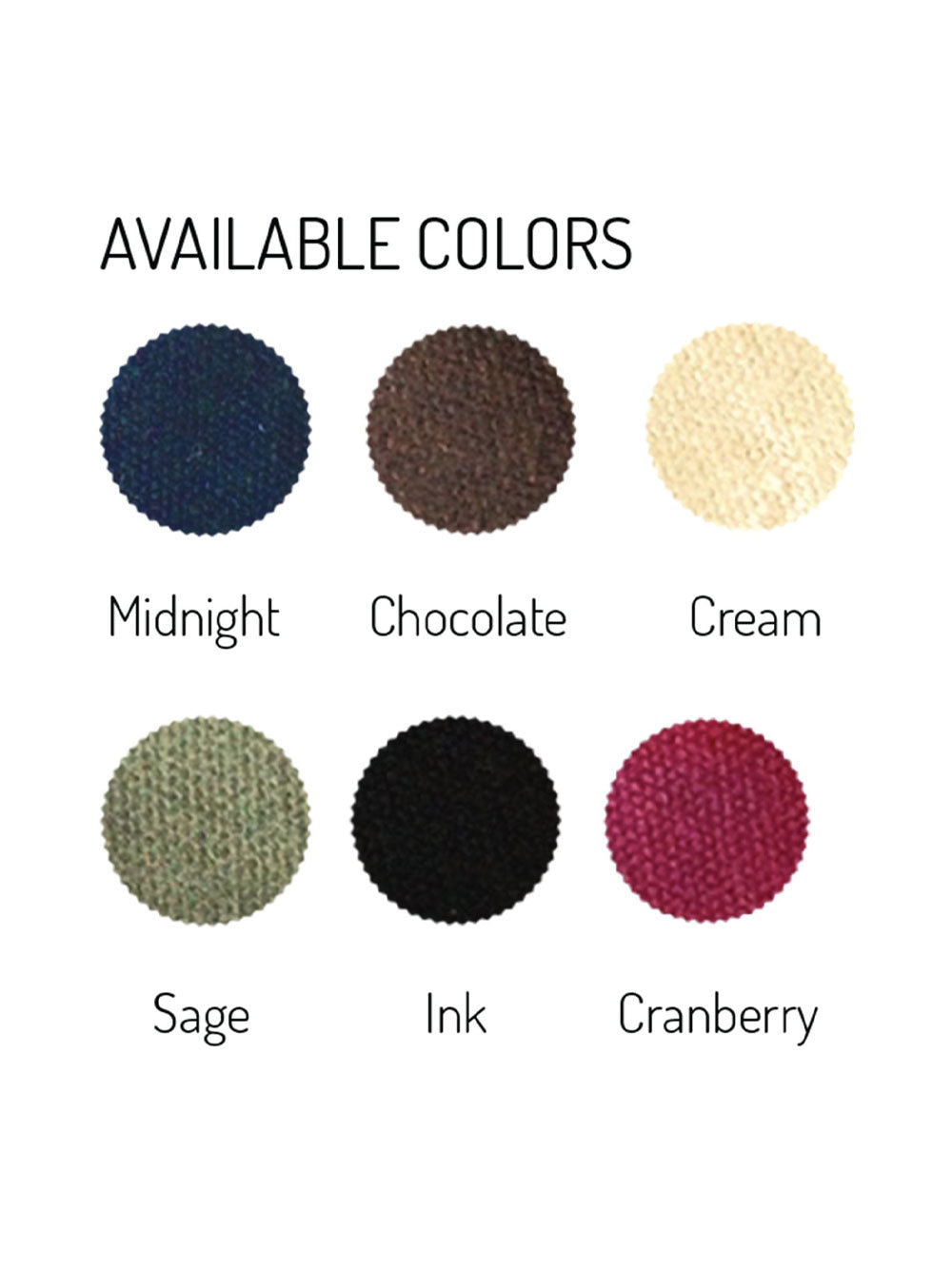 Circle swatches of waxed canvas colors. Text reads: Midnight; Chocolate; Cream; Sage; Ink; Cranberry.