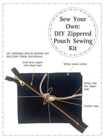Load image into Gallery viewer, A small piece of folded black waxed canvas, a brass zipper, hemp rope, and role of leather tape, tied in a bow with twine. Text reads: DIY ZIPPERED POUCH SEWING KIT INCLUDES THESE MATERIALS: Gold brass zipper; Hemp waxed canvas; Hemp rope (for zipper pull); Leather tape. Text above reads: Sew Your Own: DIY Zippered Pouch Sewing Kit.