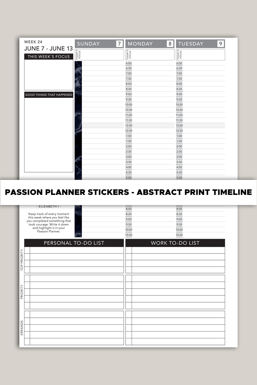 Passion Planner Timeline Stickers - Abstract Pattern