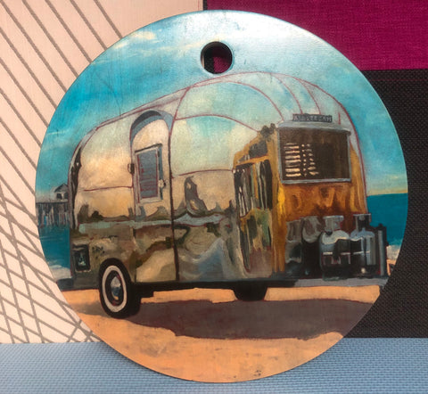 Charcuterie / serving tray featuring an artwork with an Airstream Bambi trailer - Bambi, Summer at Huntington Beach