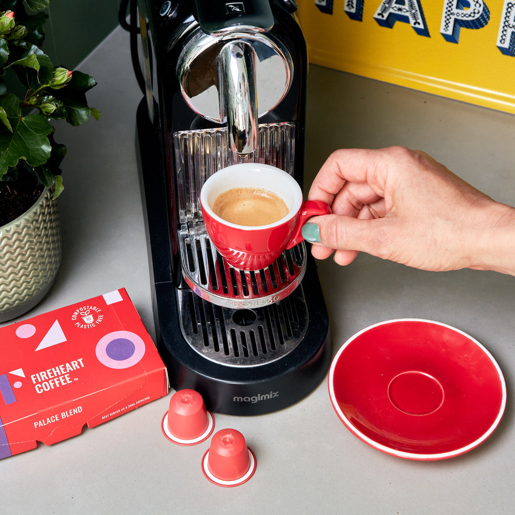 Compostable pods compatible with a Nespresso machine