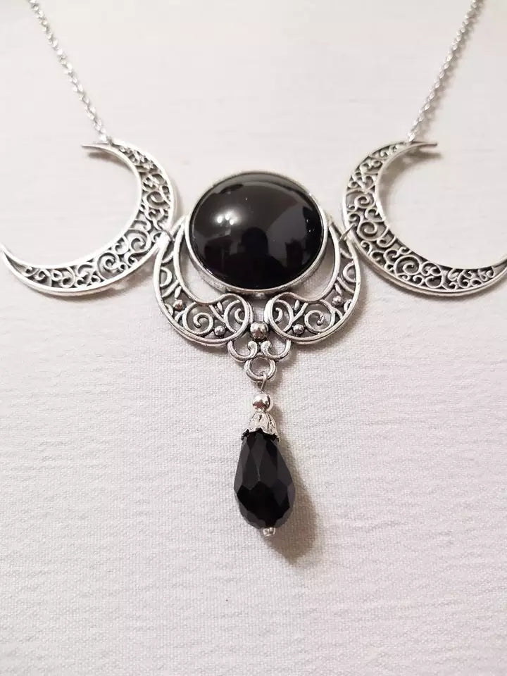 Witchy Triple Moon Goddess Necklace