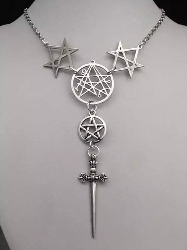 Unicursal Hexagram with Sword Necklace - Dark Carnival Boutique