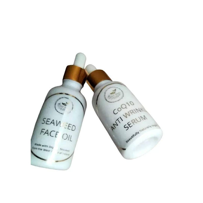 Face Oil & Serum Set. Co Q10 Anti Wrinkle Serum & Seaweed Face Oil  with Organic Seaweed from the West Coast of Ireland. Natural and Organic. - TheWildIrishSkincare