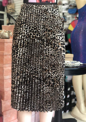 Pleated cheetah Skirt