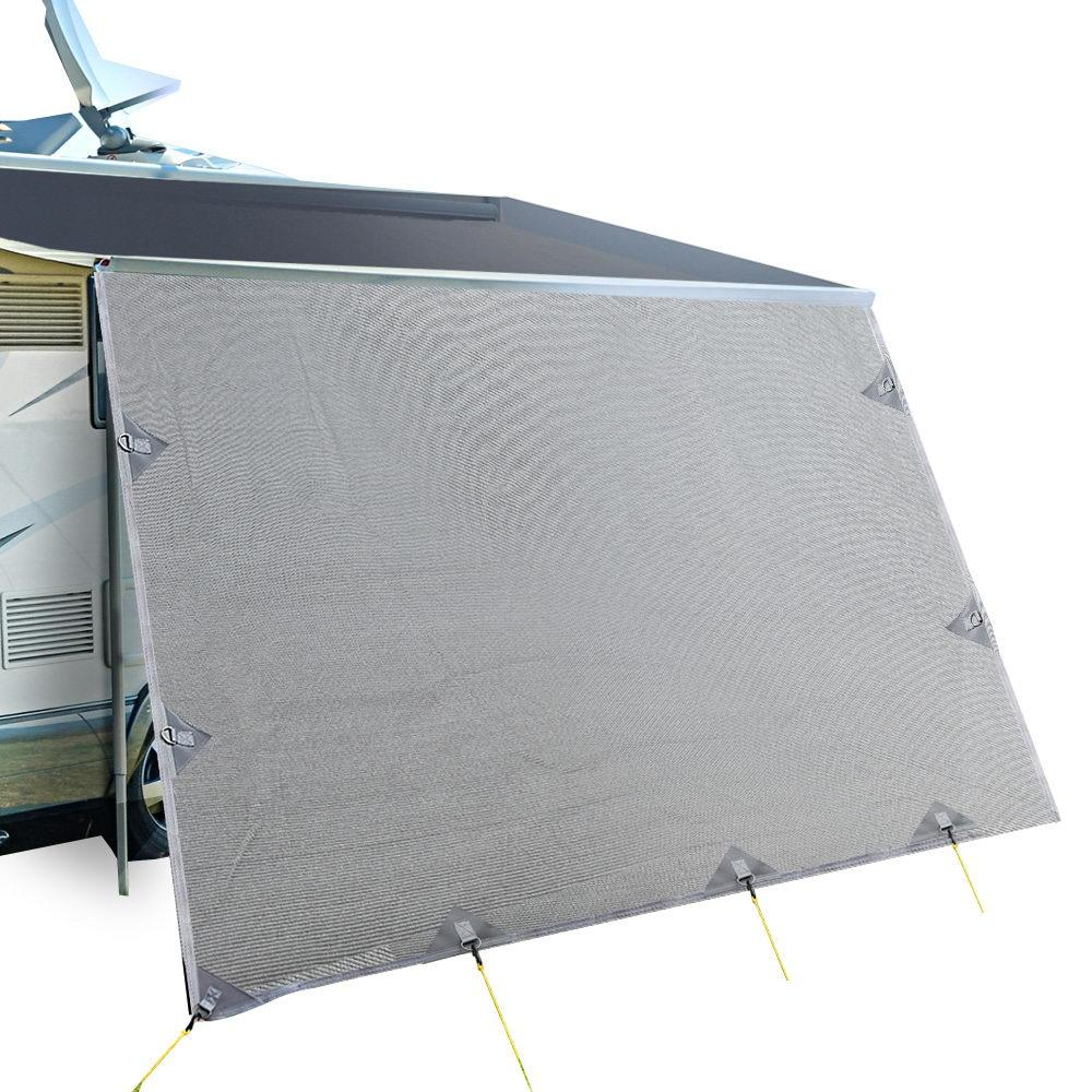 4.9M Caravan Privacy Screens 1.95m Roll Out Awning End Wall Side Sun Shade - Aussie Camping Store
