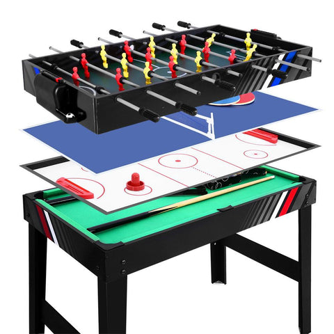 4FT 4-In-1 Soccer Table Tennis Ice Hockey Pool Game Football Foosball Kids Adult - Aussie Camping Store