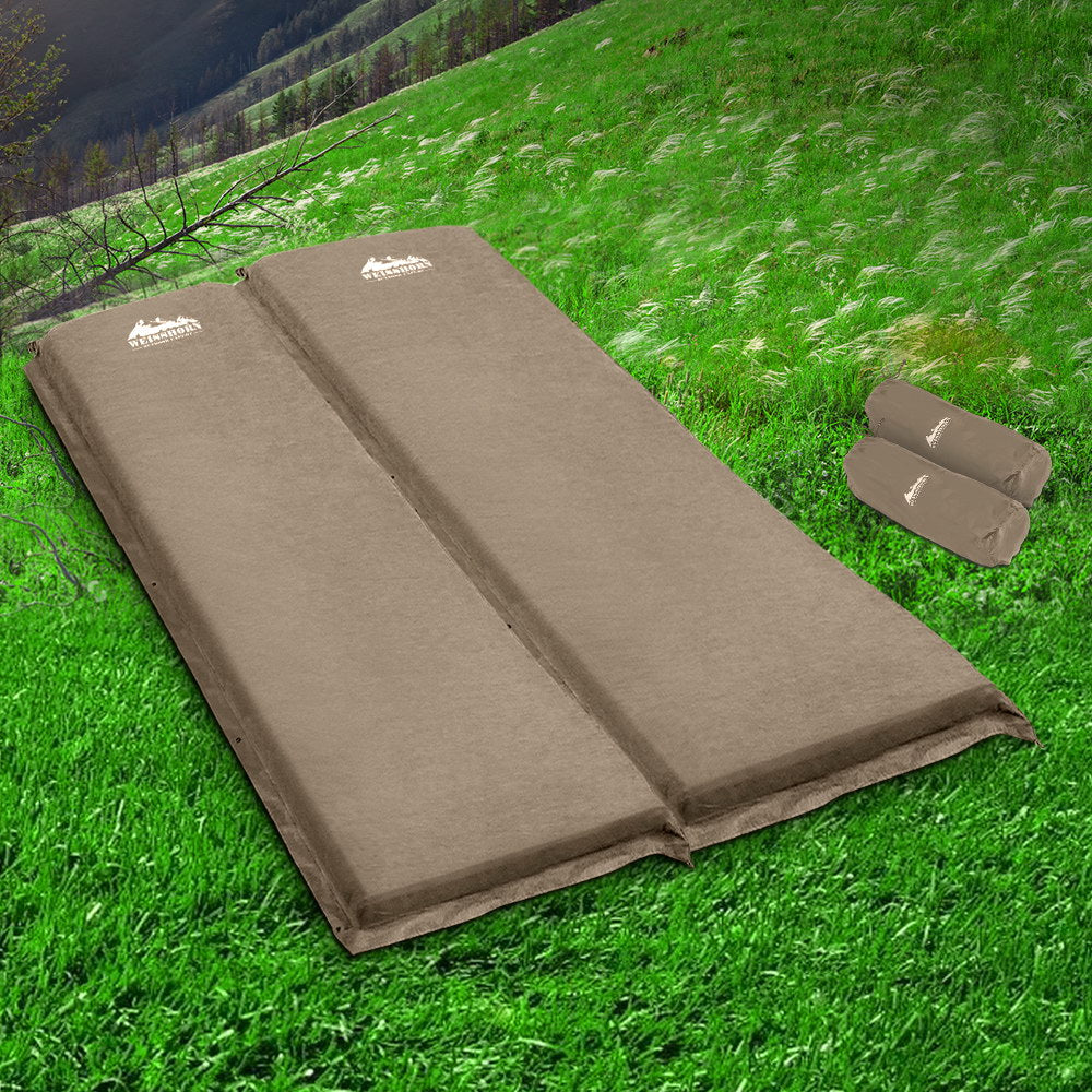 Weisshorn Self-Inflating Double Camping Mattress Coffee