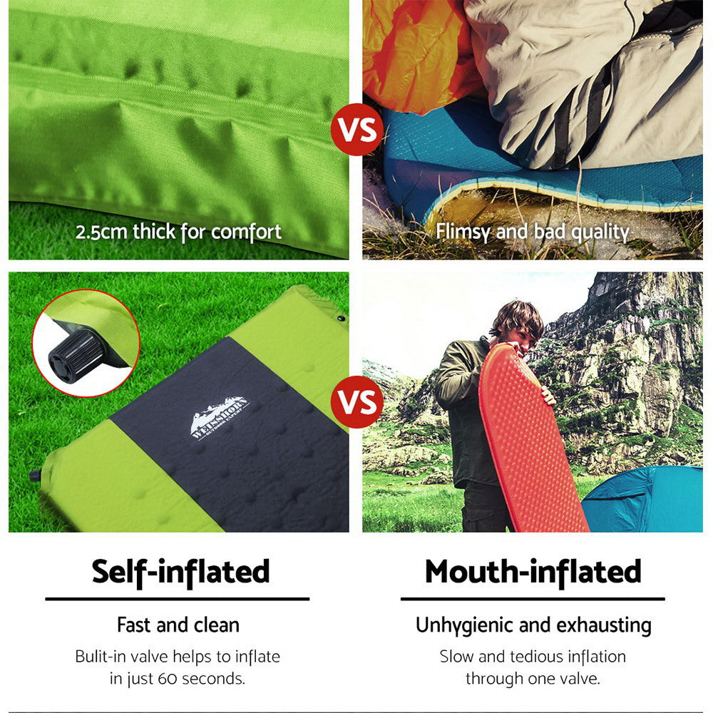 Weisshorn Self-Inflating Camping Mattress Double Green
