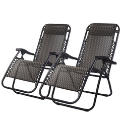 2PC Lightweight Reclining Chairs-Grey
