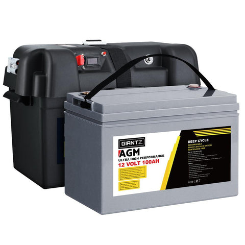 Giantz 100Ah Deep Cycle Battery & Battery Box 12V AGM Marine Sealed Power Solar Caravan 4WD Camping - Aussie Camping Store