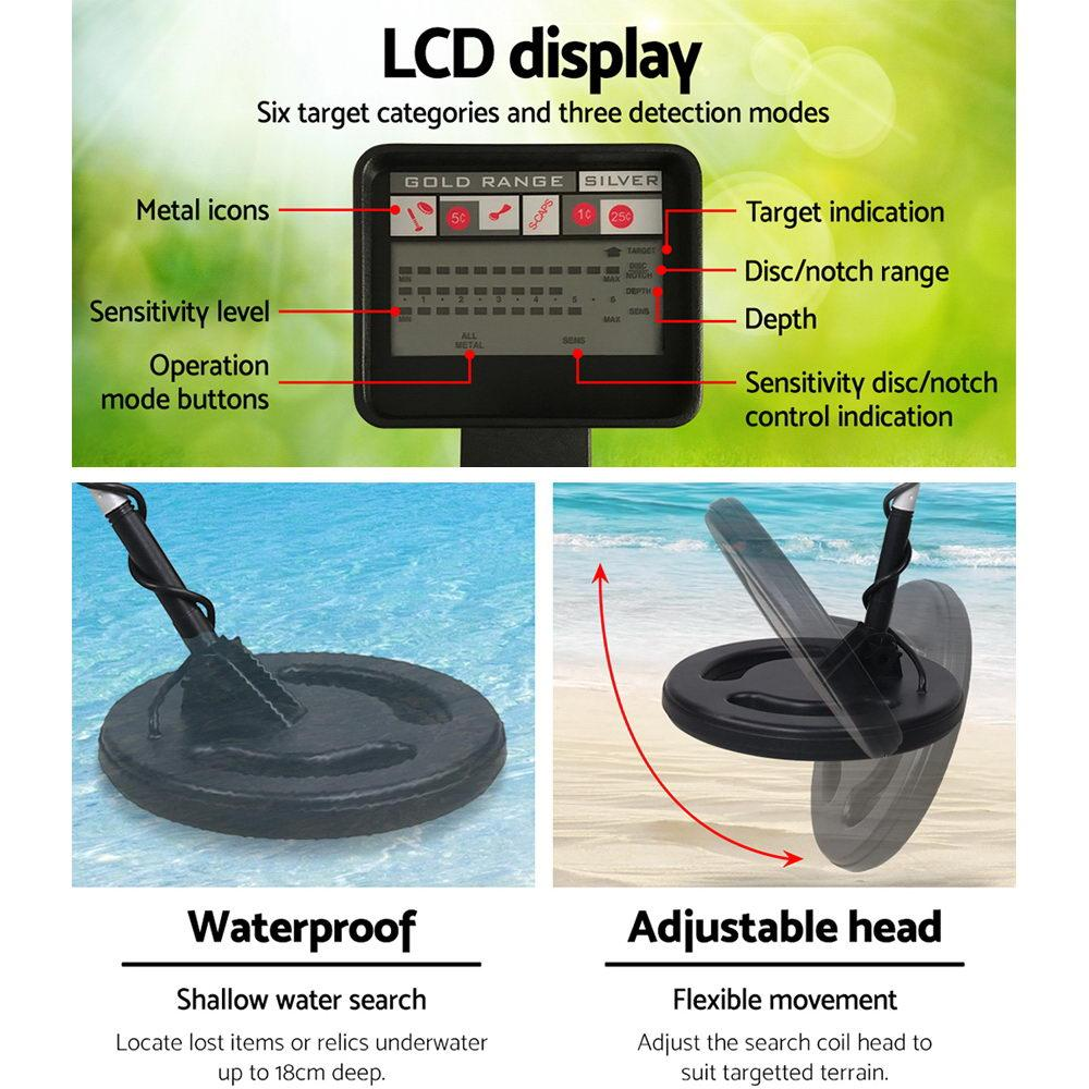 LCD Screen Metal Detector with Headphones - Black - Aussie Camping Store