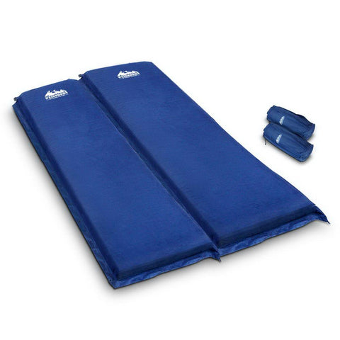 Weisshorn Self Inflating Mattress Camping Sleeping Mat Air Bed Pad Double Navy 10CM Thick - Aussie Camping Store