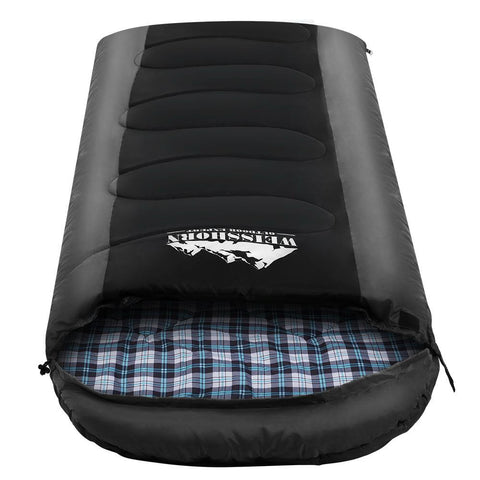 Weisshorn Sleeping Bag Bags Single Camping Hiking -20°C to 10°C Tent Winter Thermal Grey - Aussie Camping Store