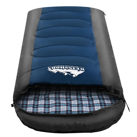 Weisshorn Sleeping Bag Bags Single Camping Hiking -20°C to 10°C Tent Winter Thermal Navy - Aussie Camping Store
