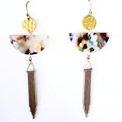 Acetate and Gold Drop Earrings