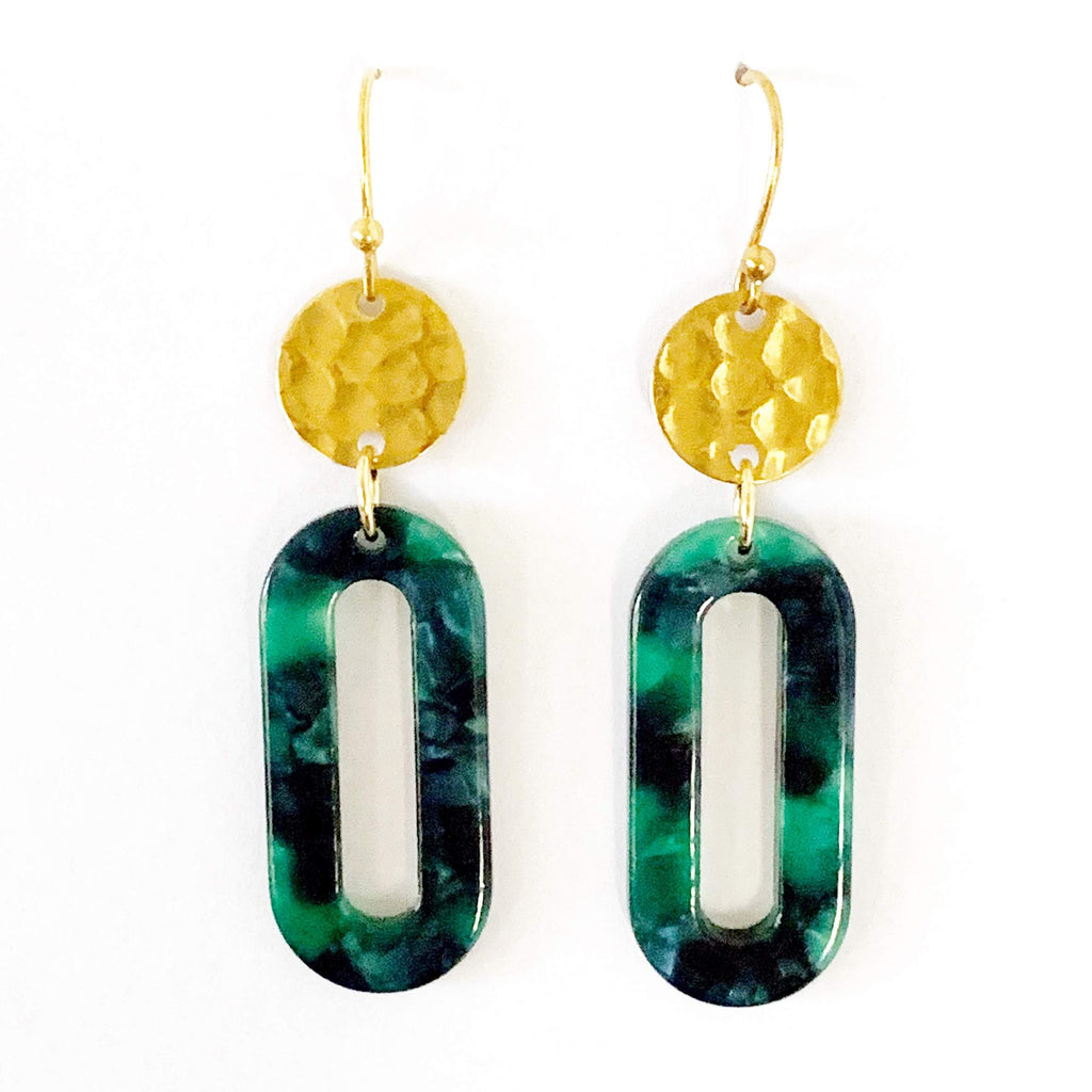 Green Oval Acetate Earrings