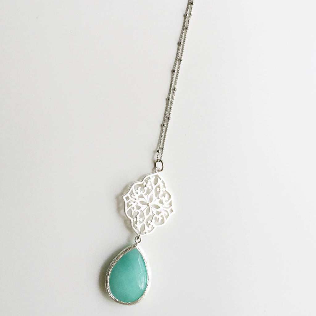 Long Filigree Stone Drop Necklace