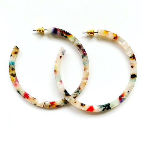 Acetate Confetti Hoop Earrings