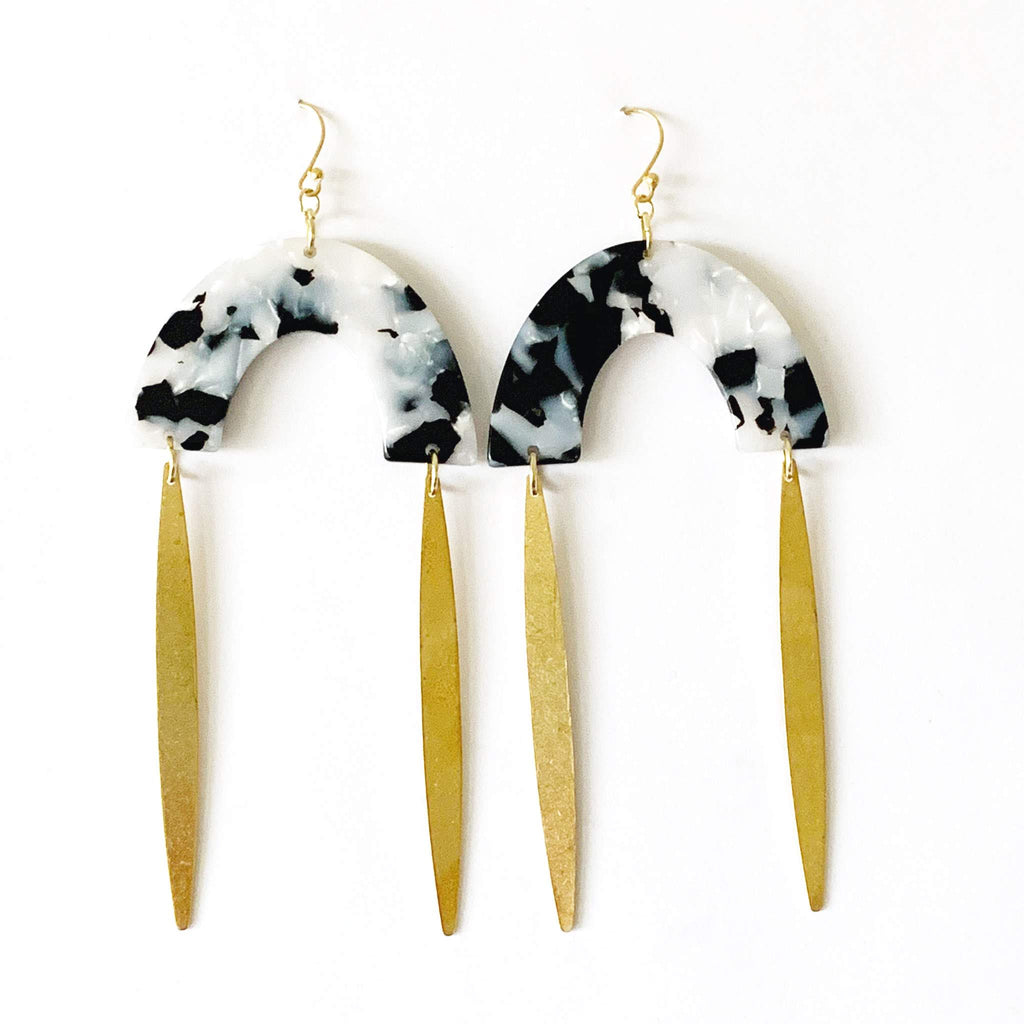 Black and White Acetate Earrings