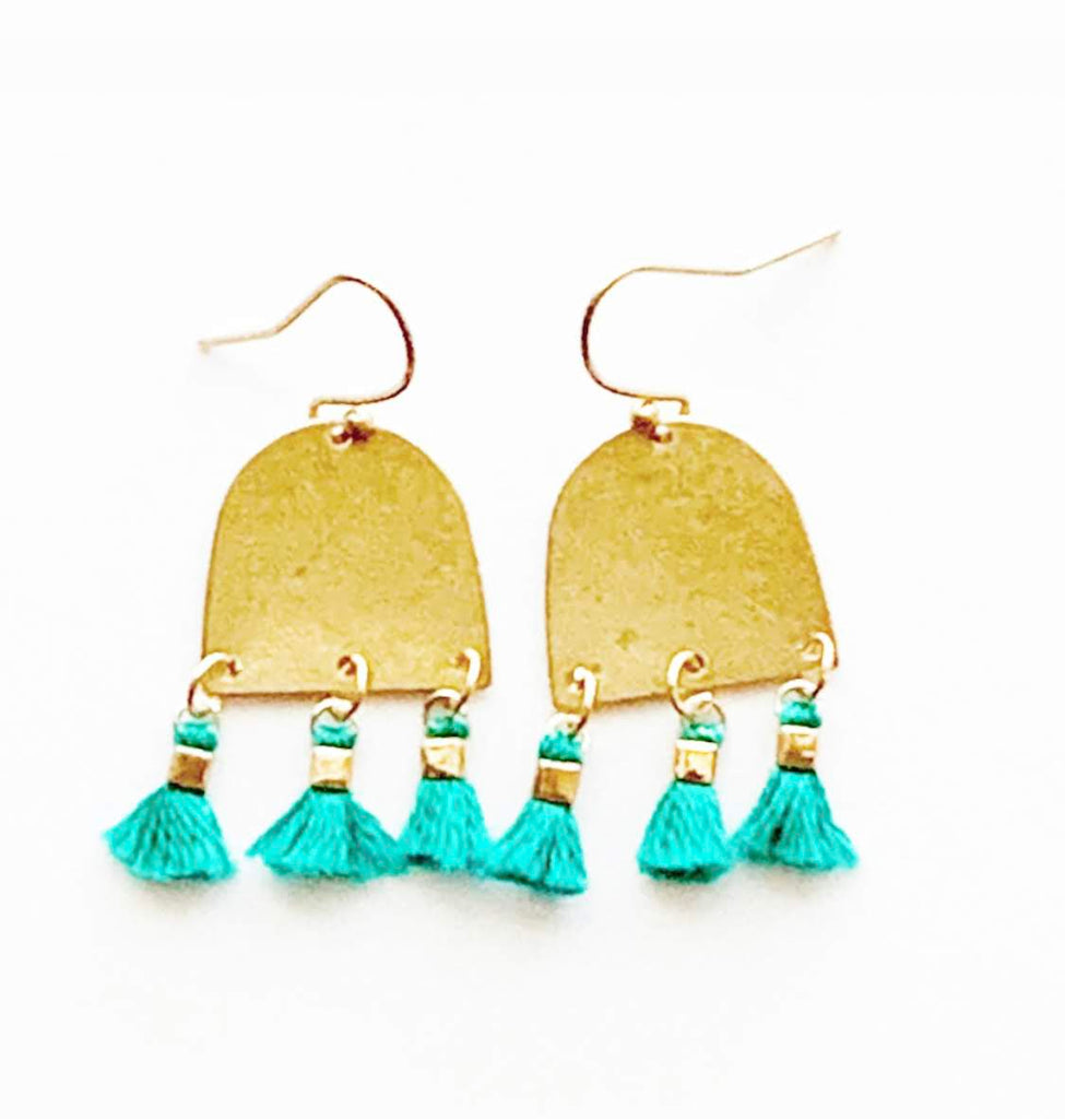 Gold Dome Tassel Earrings