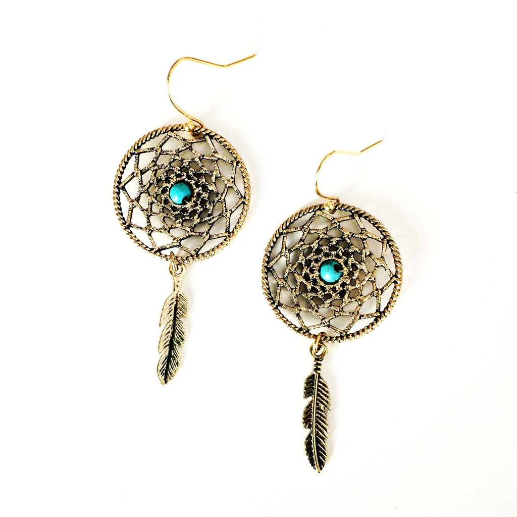 Dream Catcher Earrings with Turquoise Bead