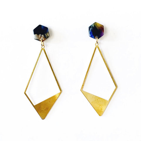 Acetate and Geometric Gold Earrings