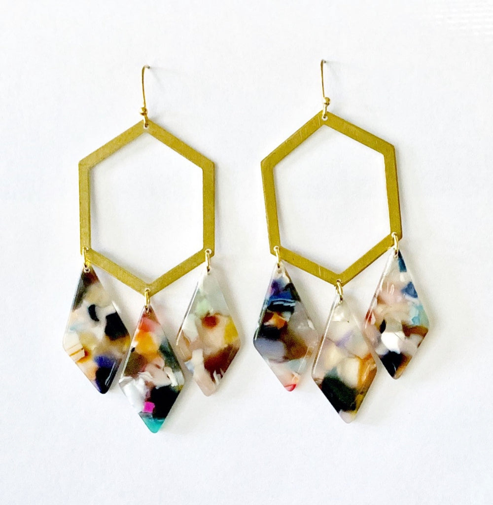 Gold Hexagon with Acetate Drops Earrings